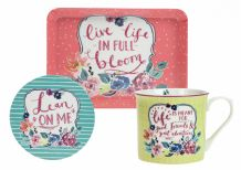 Ashley Thomas Mug, Coaster & Tray Set - Full Bloom